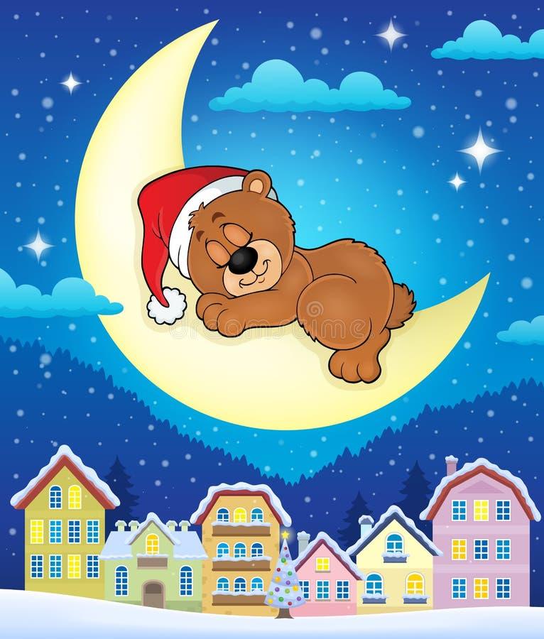 有睡觉熊的圣诞节镇 皇族释放例证