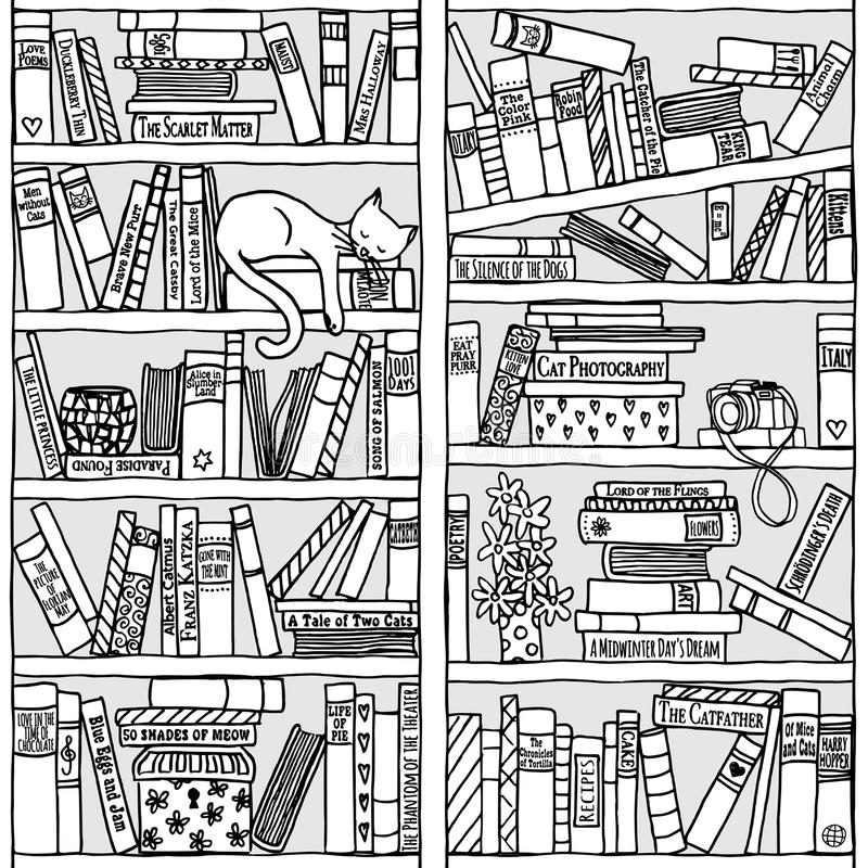 有睡觉猫的(无缝的样式)书架 库存例证