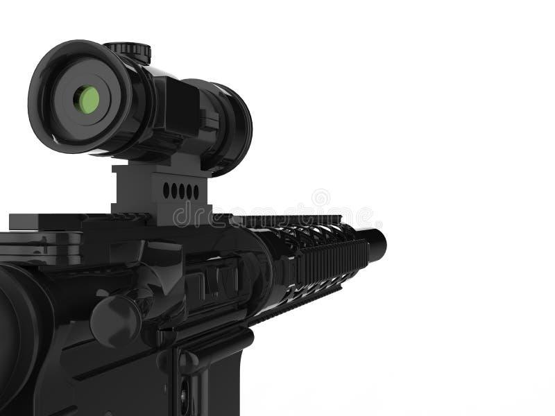 有瞄准具的现代军队攻击步枪-极端特写镜头射击 向量例证