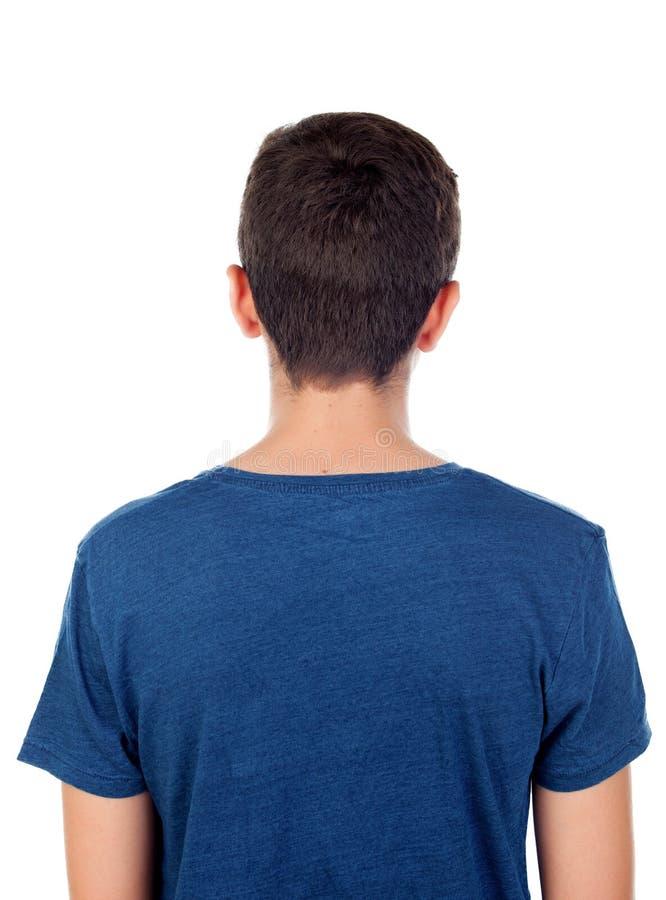 有短发后面的少年 免版税库存照片
