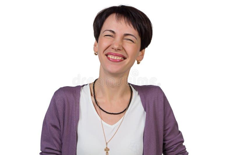 有短发的笑的妇女 免版税库存照片