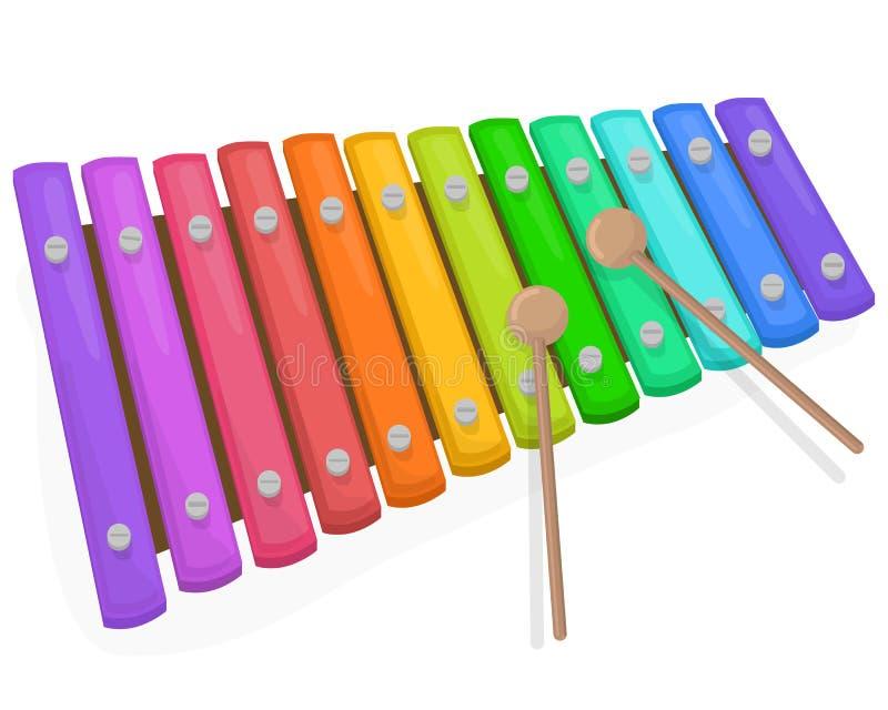 有短槌的五颜六色的木琴在白色背景 库存例证