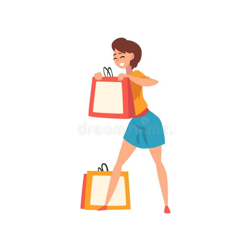 有短的理发的微笑的年轻女人享受购物的,女孩购买物品和礼物导航例证 库存例证