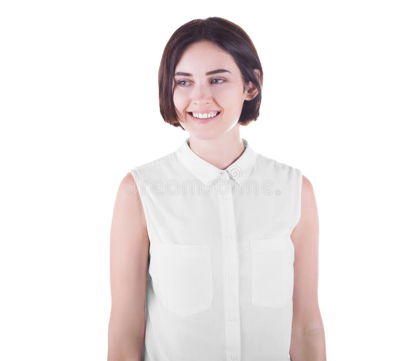 有短的黑暗的理发的一个可爱和愉快的夫人,隔绝在白色背景 一个正面女孩 球尺寸三 库存照片