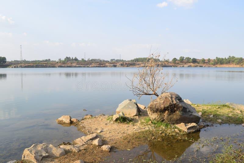 有石和死的树的岩石湖 库存照片