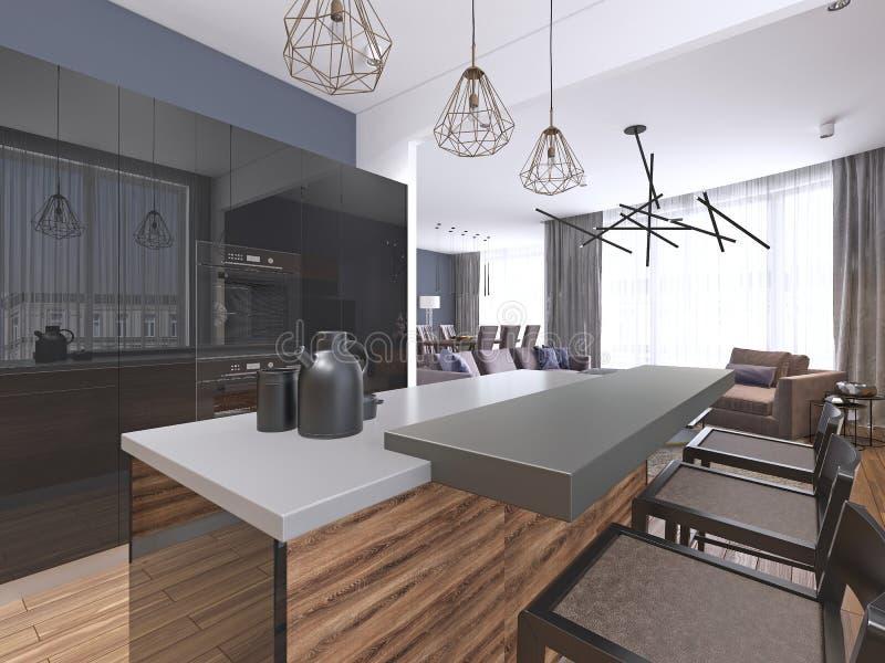 有石海岛长凳的大豪华当代厨房 向量例证