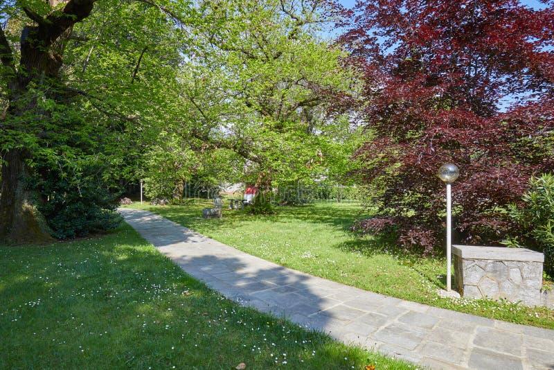 有石铺磁砖的道路和街灯的在一好日子,意大利庭院 库存照片