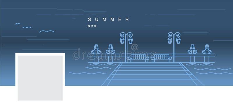 有码头的传染媒介线性图象的Facebook盖子在水的 向量例证