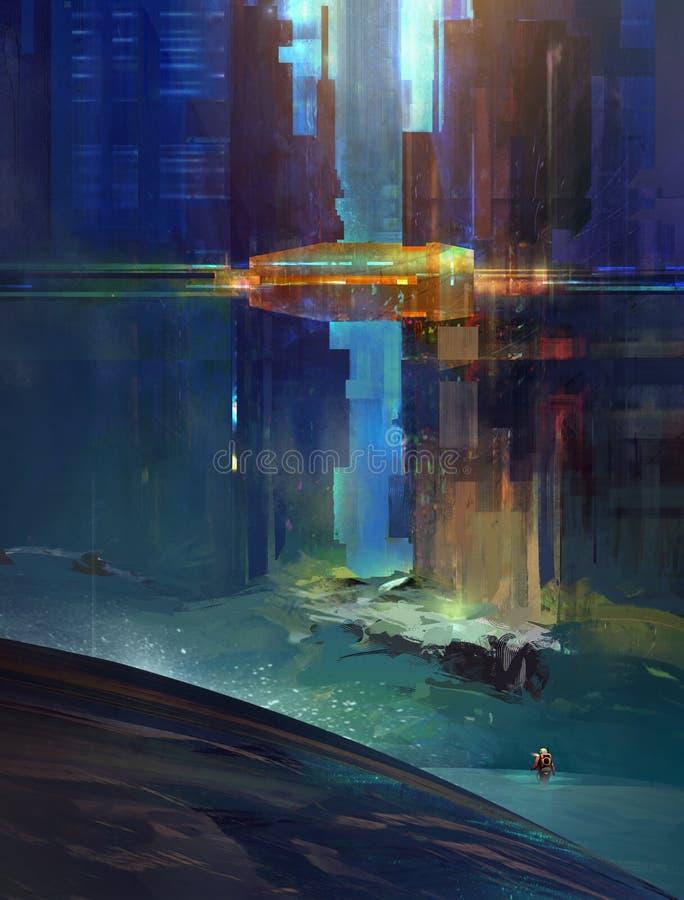 有研究员的剪影意想不到的城市 未来的都市化的风景 计算机国际庞克 库存图片