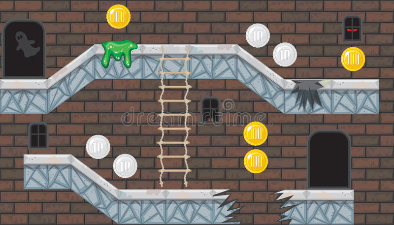 有砖墙的无缝的编辑可能的室平台游戏设计的 库存例证
