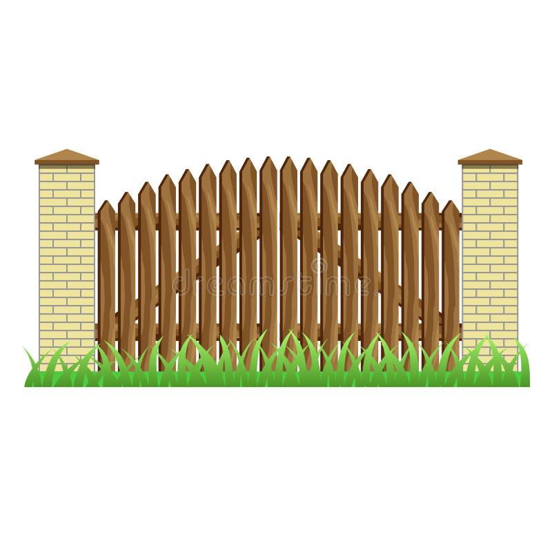 有砖柱子和木门的篱芭 免版税图库摄影