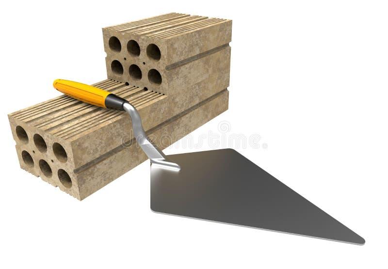 有砖的修平刀 向量例证
