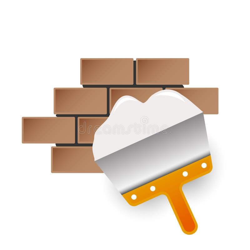 有砖的油灰刀建筑 库存照片