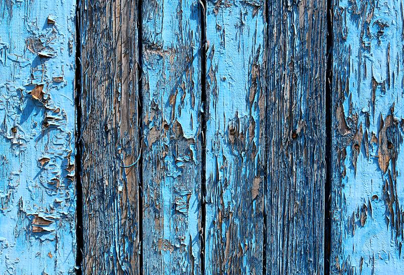 有破旧的油漆蓝色的纹理木板 免版税库存图片