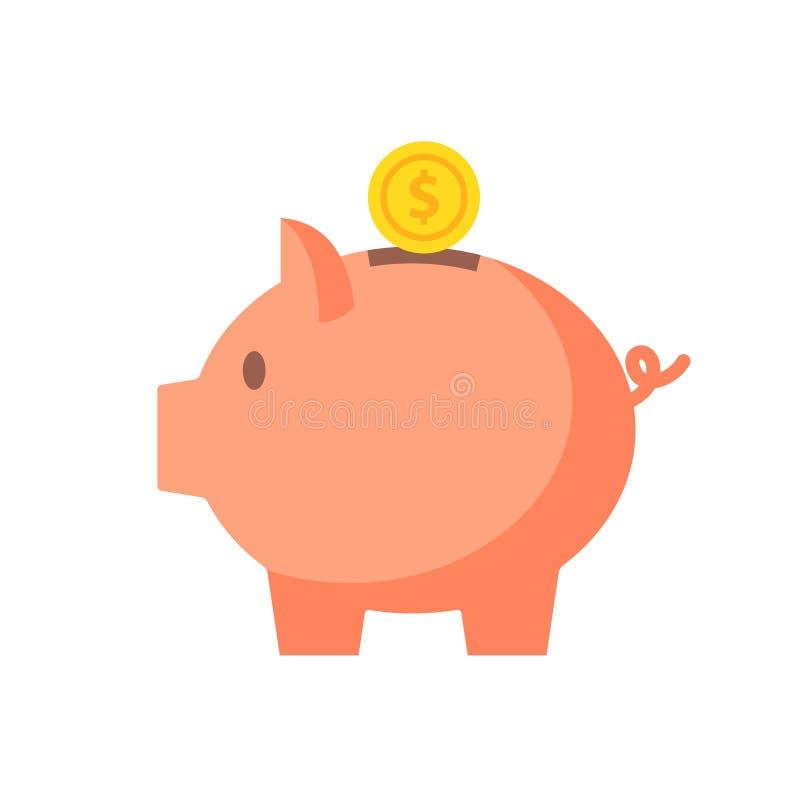 有硬币传染媒介例证的存钱罐在平的样式 库存例证