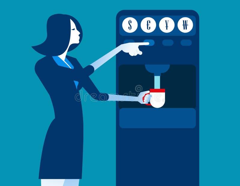 有硬币分配器机器的女实业家 概念企业不适 库存例证