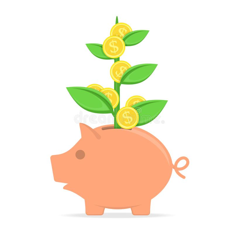 有硬币树的存钱罐 库存例证