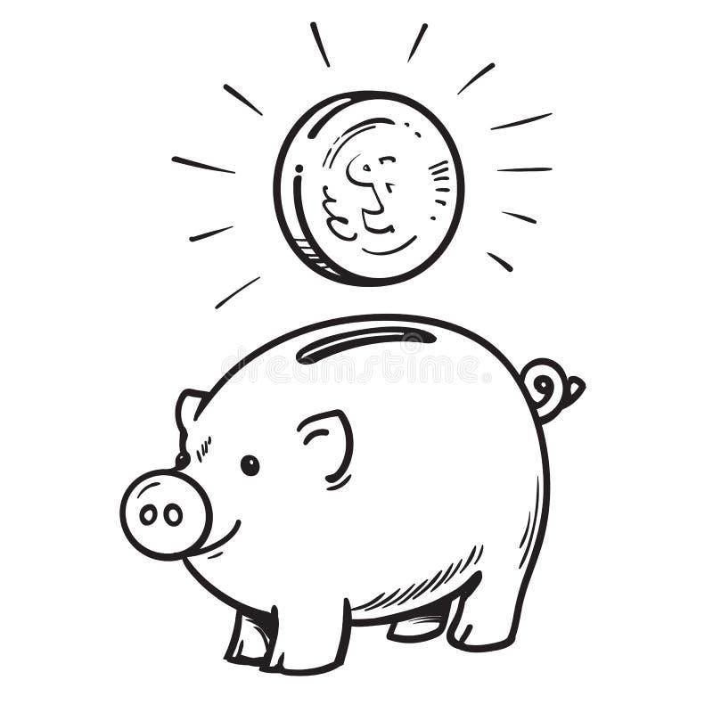 有硬币的动画片存钱罐 向量例证
