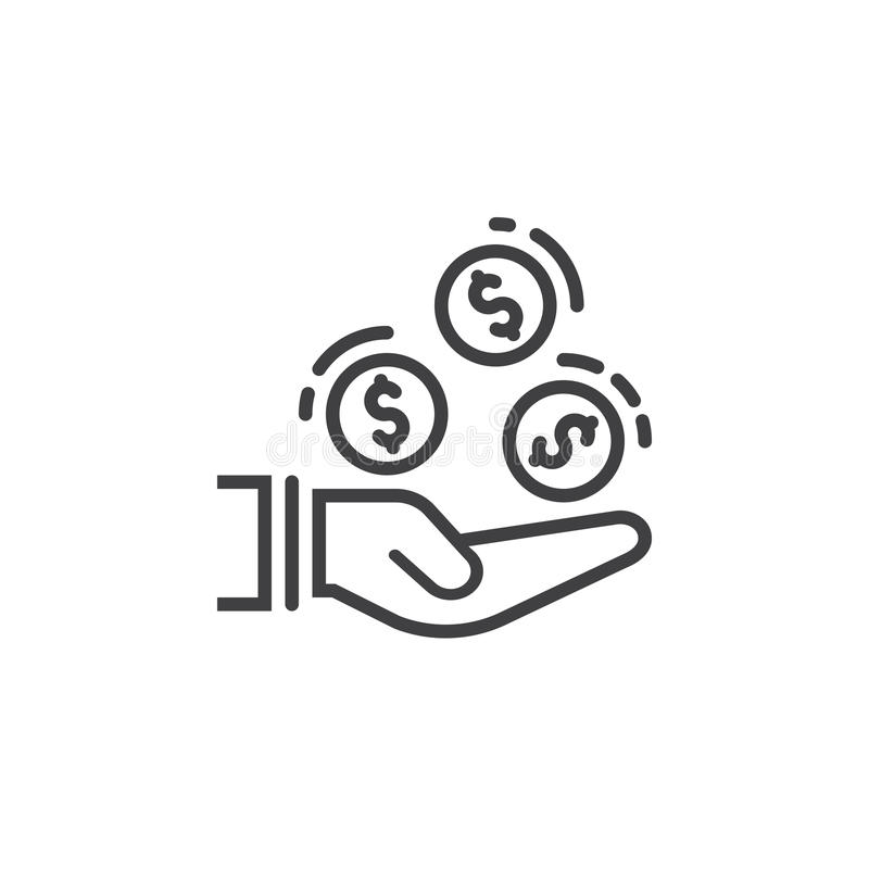 有硬币的手排行象,概述传染媒介标志,在白色隔绝的线性图表 向量例证