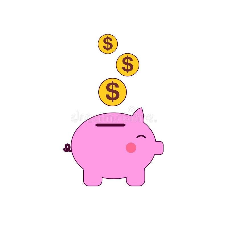 有硬币的猪银行导航在平的样式的例证 挽救的概念或存金钱或打开银行存款 的treadled 向量例证