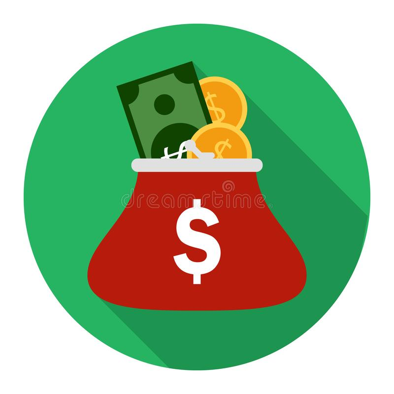 有硬币的硬币钱包在绿色背景 向量例证