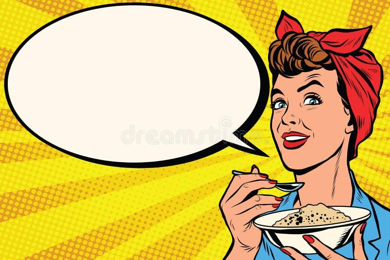 有碗的妇女可口谷物 库存例证