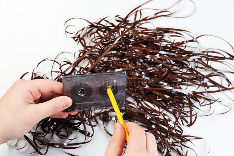 有磁带的倒带卡型盒式录音机 免版税图库摄影