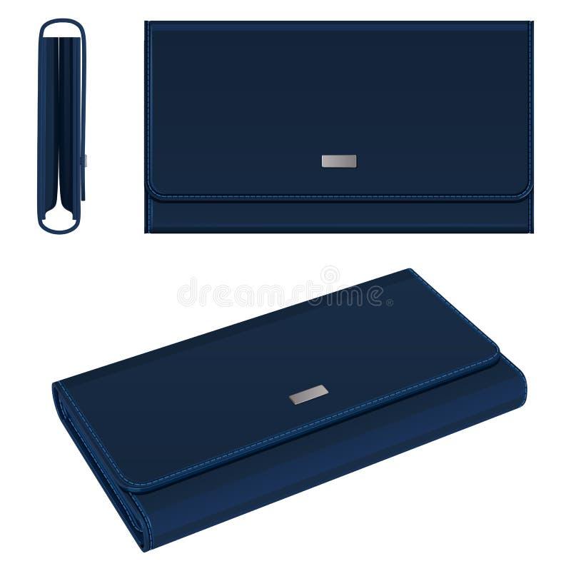 有磁性紧固件、顶视图、侧视图和全视图的深蓝皮革长方形钱包 库存例证