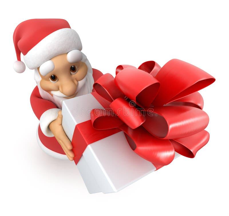 有礼品的圣诞老人,顶视图鱼眼睛, 向量例证