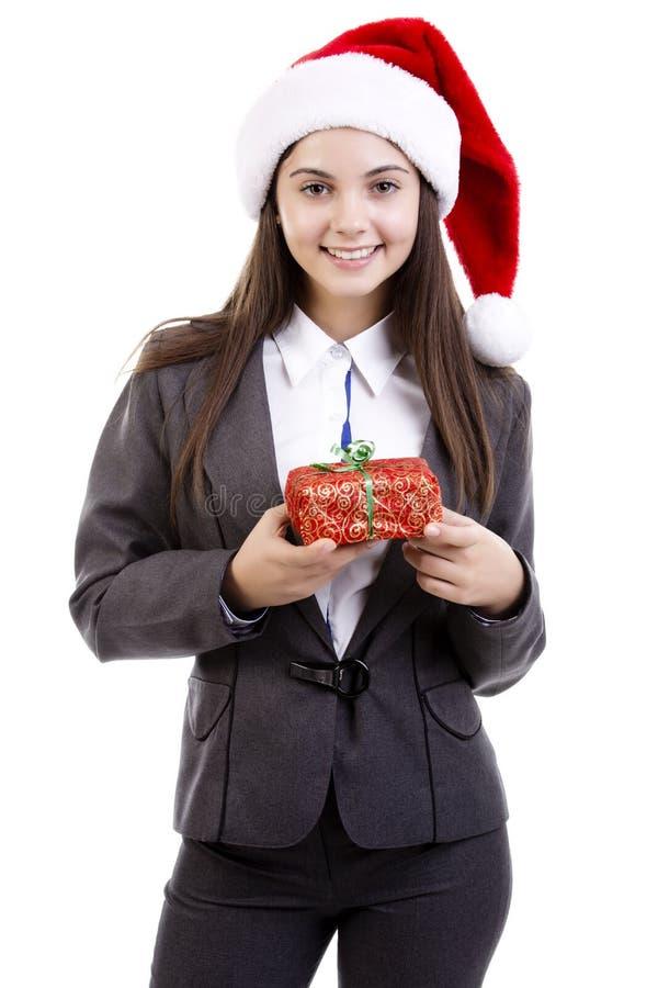 有礼品的女商人 库存照片