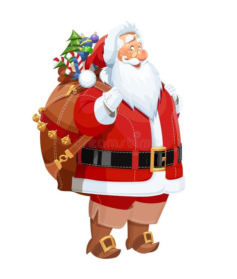 有礼物大袋的微笑的圣诞老人 圣诞节字符 库存例证