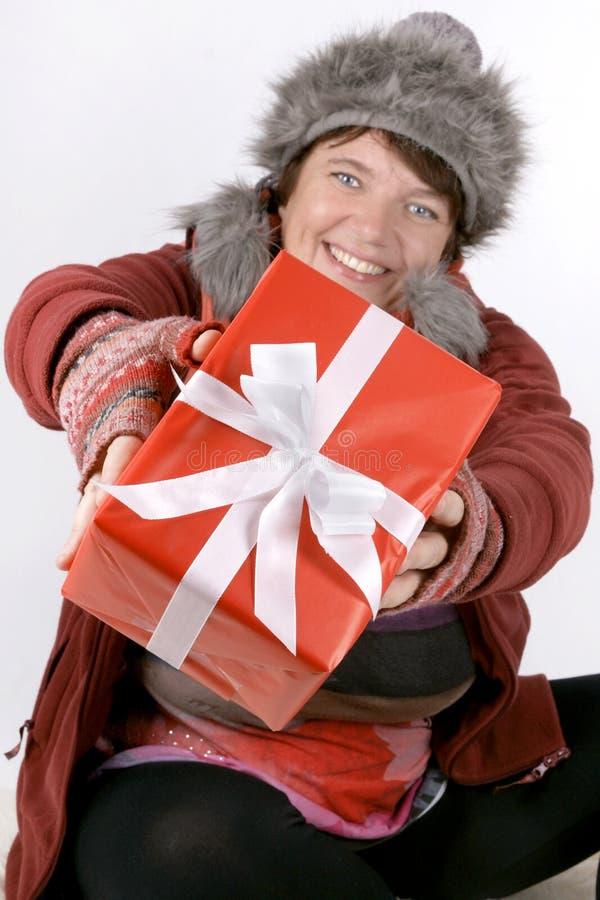 有礼物的妇女 免版税图库摄影
