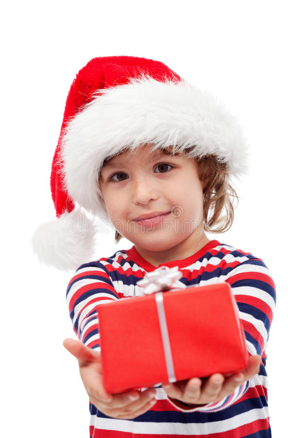 有礼物的小男孩 库存图片