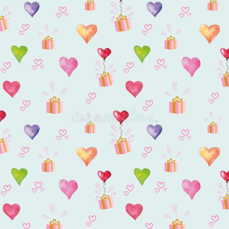 有礼物的心脏气球 也corel凹道例证向量 库存图片