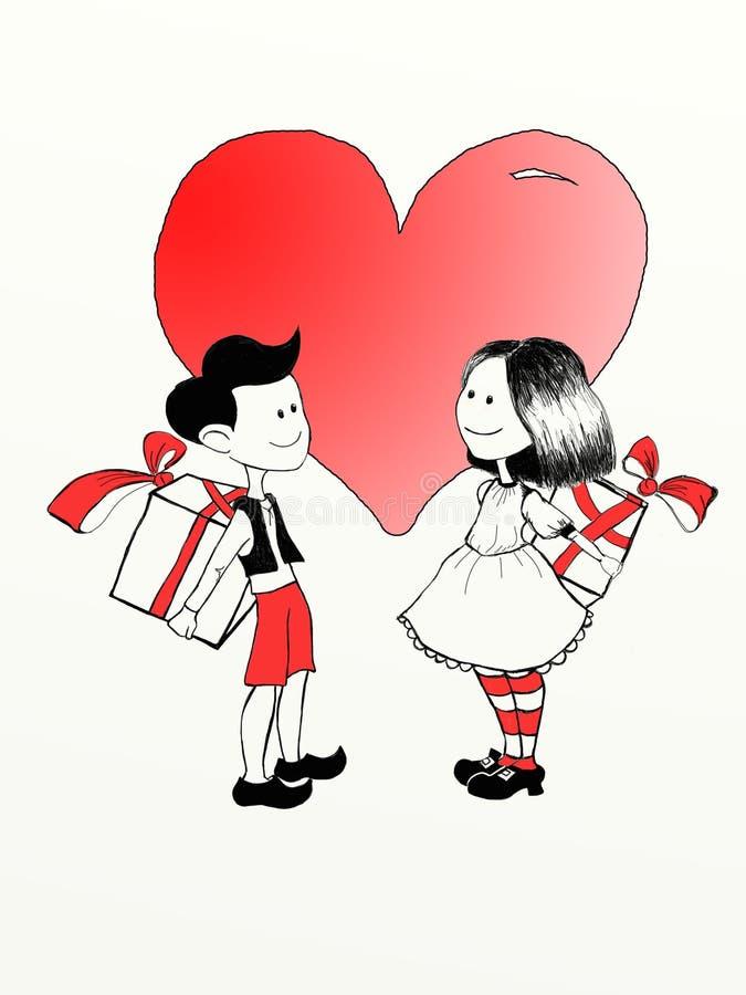 有礼物的恋人 库存例证