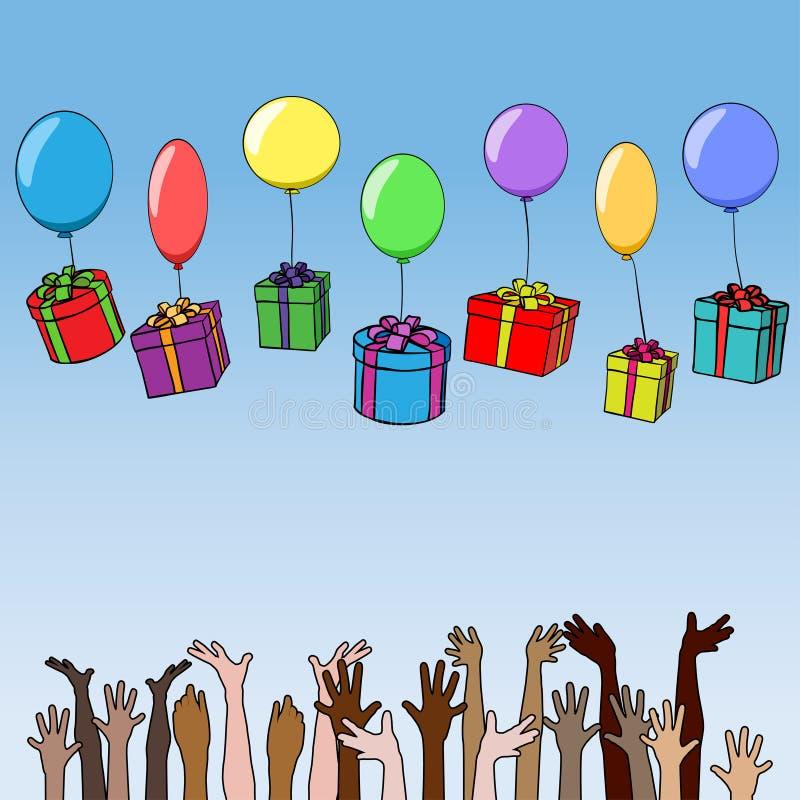 有礼物的箱子在气球落入不同的国籍的人的手 皇族释放例证
