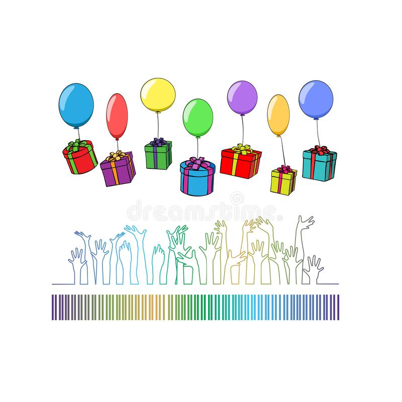 有礼物的箱子在气球落入人的手 库存例证