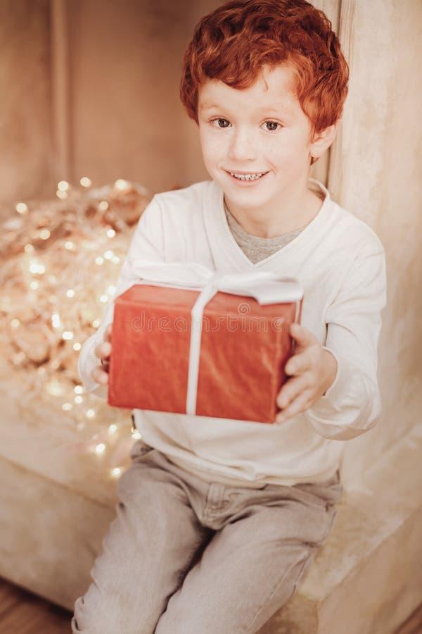 有礼物的高兴小男孩 免版税库存照片