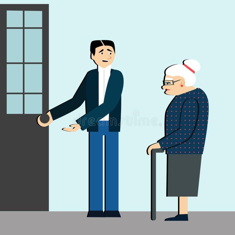 有礼貌 人对一个年长人打开门 疲乏的妇女 礼节 礼貌的人 库存例证