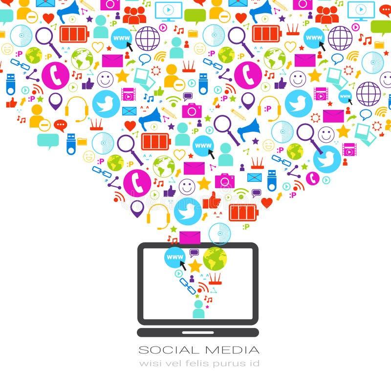 有社会媒介象的便携式计算机在白色背景网络通信概念 向量例证