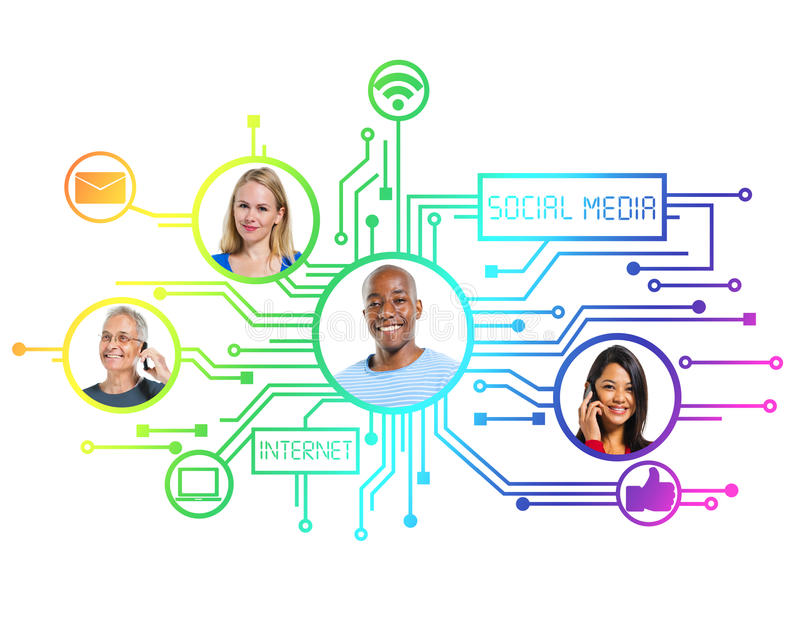有社会媒介连接的人们 向量例证