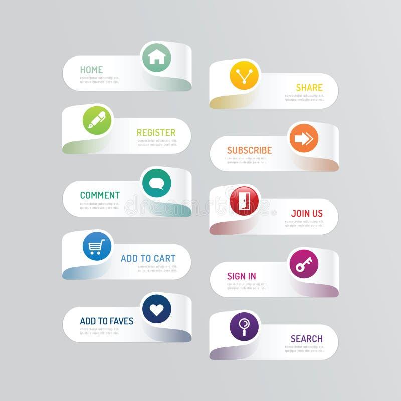 有社会象设计选择的现代横幅按钮 向量例证