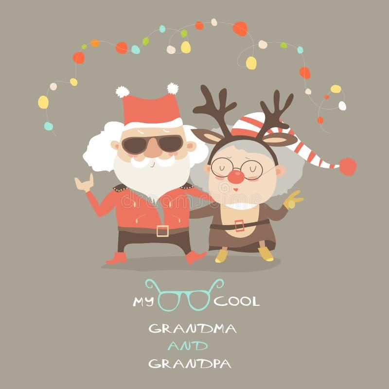 有祖父的凉快的祖母作为圣诞老人和驯鹿 皇族释放例证