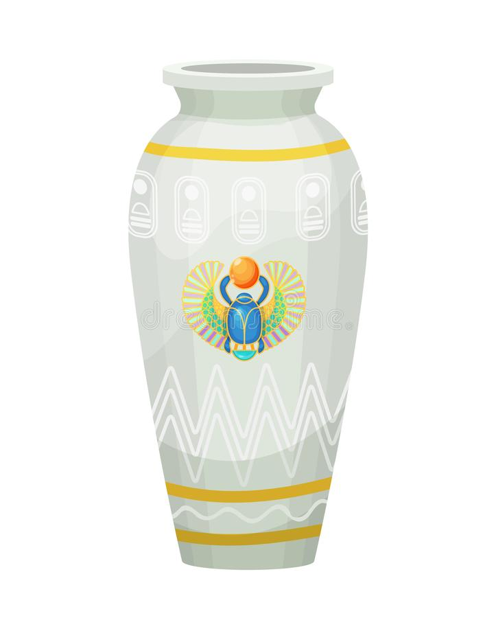 有神圣的金龟子甲虫的图象的古老埃及陶器花瓶 皇族释放例证