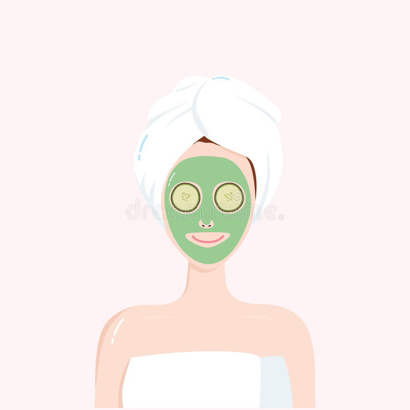 有秀丽面具的妇女在与毛巾的面孔在头 Matcha,鲕梨,绿茶,黄瓜脸面护理治疗 也corel凹道例证向量 库存例证