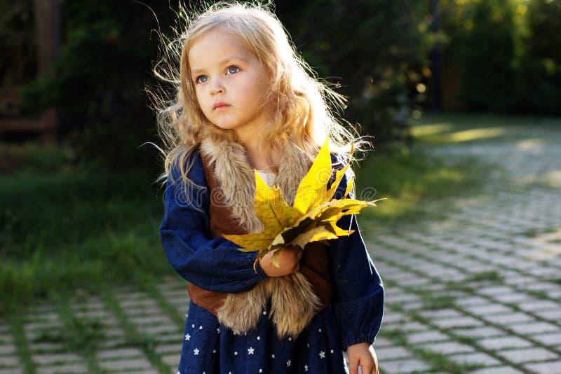 有秋叶的可爱的小女孩在公园 免版税图库摄影