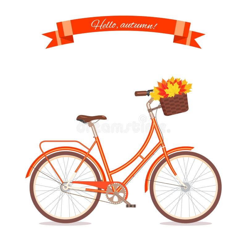 有秋叶的橙色减速火箭的自行车在花篮和箱子在树干 在白色背景隔绝的颜色自行车 平的传染媒介il 皇族释放例证