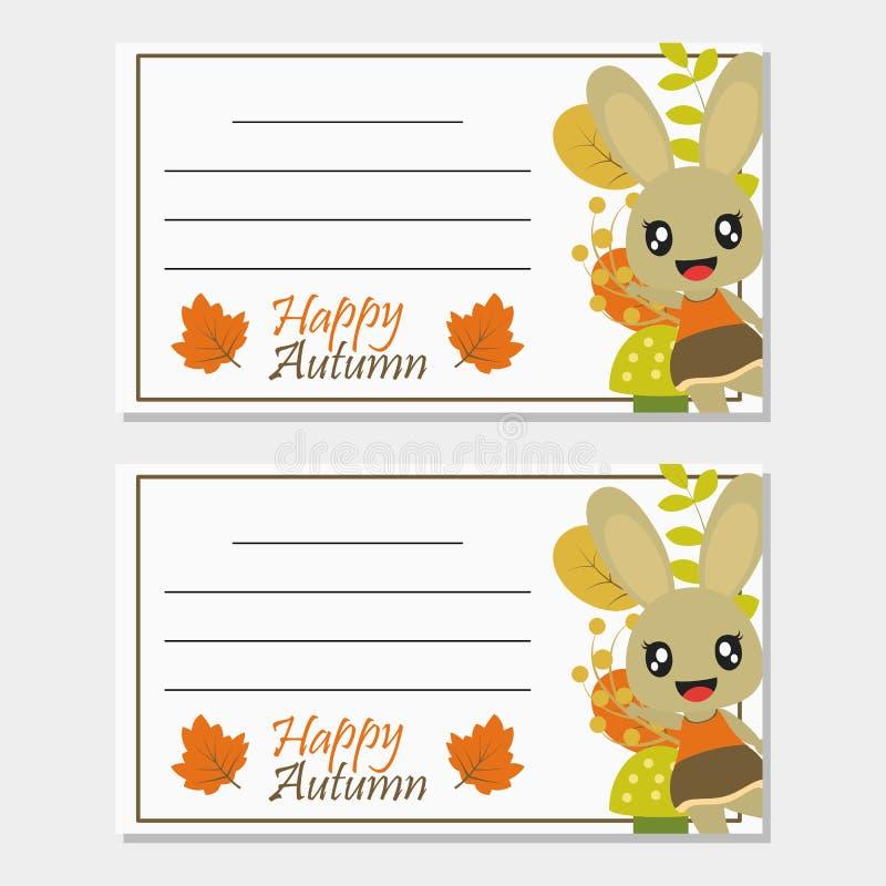 有秋天元素传染媒介动画片例证的兔宝宝女孩秋天贺卡设计的 库存图片