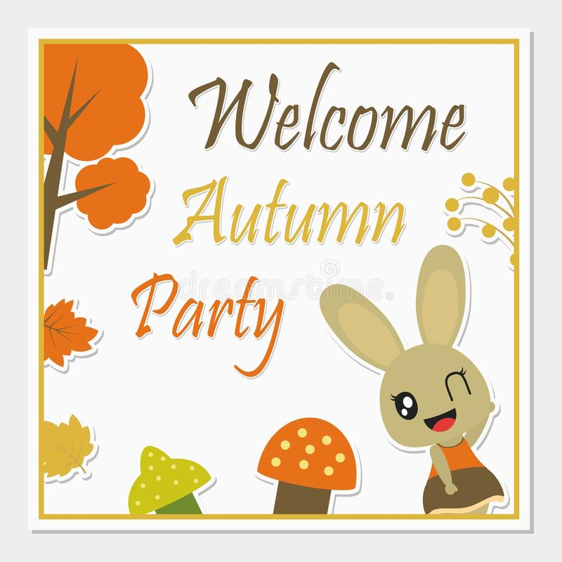 有秋天元素传染媒介动画片例证的逗人喜爱的兔宝宝女孩秋天贺卡设计的 库存照片