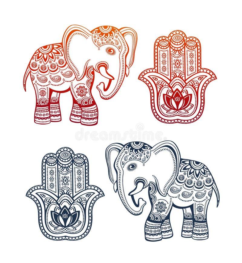 有种族装饰品的印地安种族大象和hamsa手 库存例证